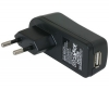 Travel Charger to USB Adapter / Reislader met USB poort - Zwart