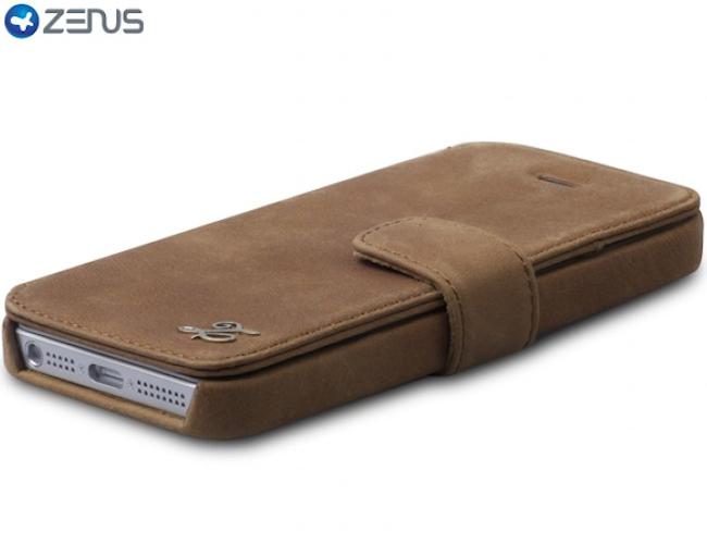 Zenus iPhone5 Prestige Vintage Leather Diary Series Brown