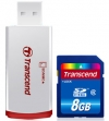 Transcend 8GB SDHC Card Class 6 Premium + USB Card Reader