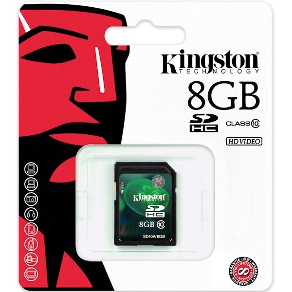 Kingston 8GB SDHC Class 10 Flash Card (HD Video)