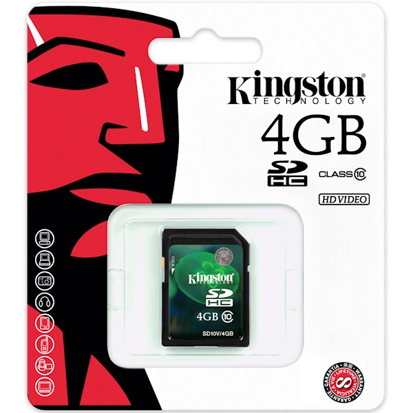 Kingston 4GB SDHC Class 10 Flash Card (HD Video)