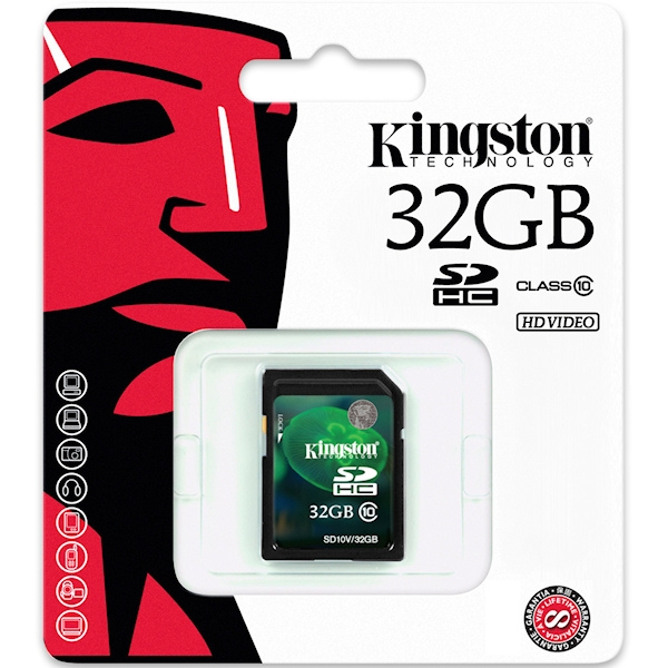 Kingston 32GB SDHC Class 10 Flash Card (HD Video)
