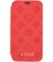 "Guess Peony Debossed Logo Book Case - iPhone X/XS (5.8"") - Rood"