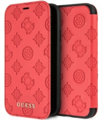 "Guess Peony Debossed Logo Book Case - iPhone XR (6.1"") - Rood"