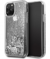 "Guess Hearts Liquid Glitter Hard Case iPhone 11 Pro (5.8"") Zilver"
