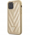 "Guess V-Quilted Hard Case - Apple iPhone 12/12 Pro (6.1"") - Goud"