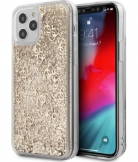 "Guess 4G Liquid Glitter Case - iPhone 12/12 Pro (6.1"") - Goud"